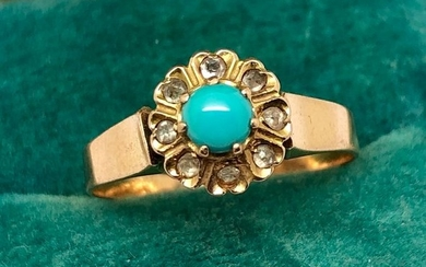 18 kt. Pink gold - Ring Turquoise Cabochon - Diamonds