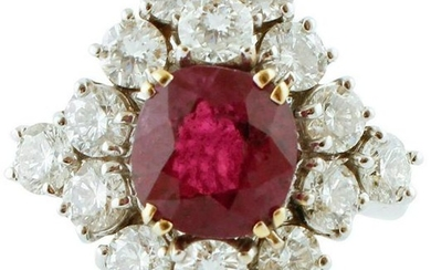 3.06ct Ruby, 3.31ct Diamonds, 18k White Gold Ring
