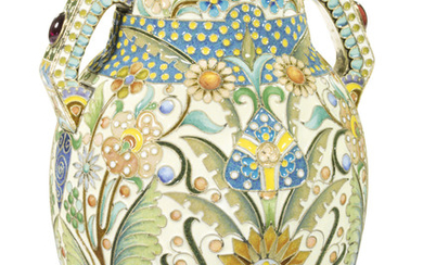 A GEM-SET SILVER-GILT AND CLOISONNÉ ENAMEL VASE, MARKED P. OVCHINNIKOV WITH IMPERIAL WARRANT, MOSCOW, 1908-1917