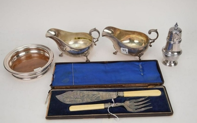 5 ANTIQUE SILVER PLATED ARTICLES. 2 Gravy Boats Lth