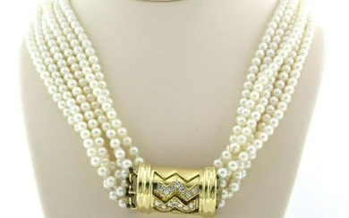 6 strings pearl necklace with diamond lock
