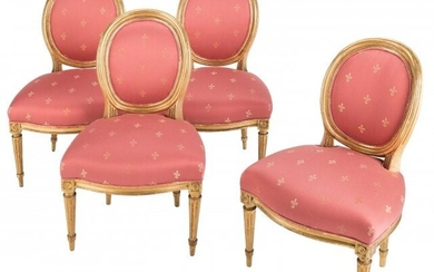 61017: A Set of Four French Louis XVI Giltwood and Silk