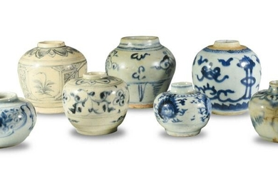 7 Pcs. Chinese Blue and White Pottery, Ming and Later