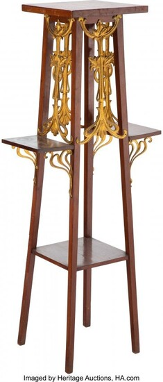 79317: French Art Nouveau Gilt Metal and Hardwood Stand