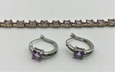 .925 Sterling Purple Amethyst Bracelet and Earrings