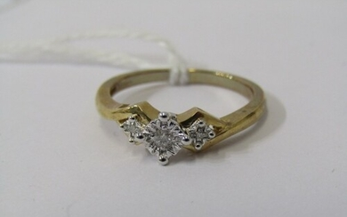 9CT YELLOW GOLD 3 STONE DIAMOND RING, size O, 2.8 grams appr...