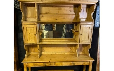 A 19TH CENTURY AND LATER WAXED PINE KITCHEN DRESSER The supe...