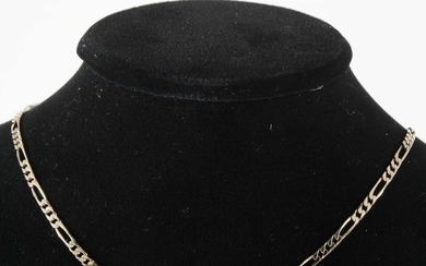 A 9 carat yellow gold figaro link necklace