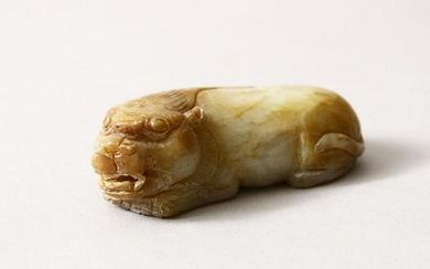 A CHINESE CARVED JADE / HARD STONE FIGURE OF A