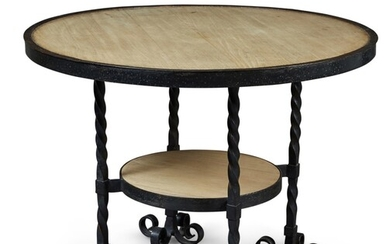 A CIRCULAR WROUGHT IRON AND BLEACHED MAHOGANY CENTRE TABLE, PROBABLY FRENCH, MID-20TH CENTURY