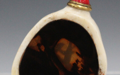 A Chinese bone and tortoiseshell snuff bottle, late 19th/early 20th century, of irregular flattened