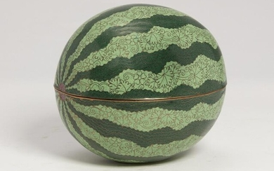 A Chinese cloisonne enamel melon form covered box