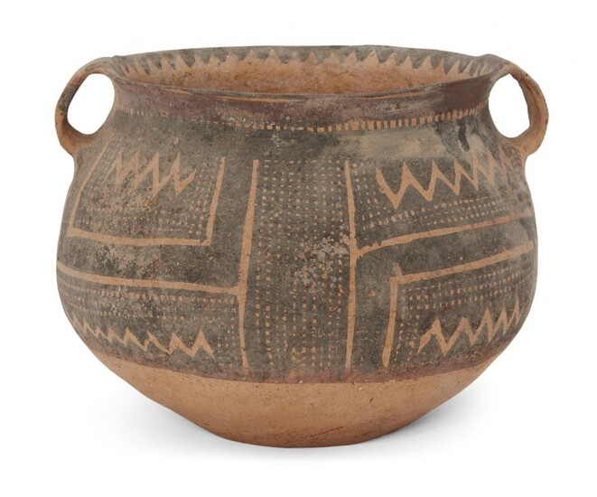 A Chinese pottery jar, Neolithic period, Majiayao culture, with broad...