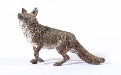 A Cold Painted Bronze of a Fox (L:12cm)