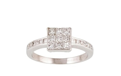 A DIAMOND CLUSTER RING, set with nine princess cut diamonds,...