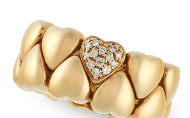 A DIAMOND HEART BAND RING, CARTIER in 18ct yellow gold