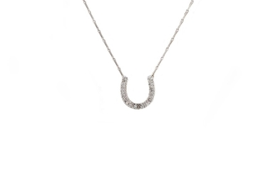 A DIAMOND SET HORSESHOE PENDANT, mounted in white gold, to a...