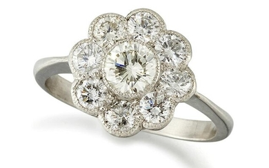 A Diamond Cluster Ring, a round brilliant-cut diamond