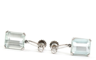 A. Dragsted: A pair of aquamarine and diamond ear screws set with faceted aquamarines and brilliant-cut diamonds, mounted in 14k white gold. L. 2.4 cm. (2)