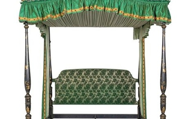 A George III Style Chinoiserie Lacquered Four-Post
