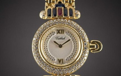 A LADIES 18K SOLID GOLD, DIAMOND, SAPPHIRE & RUBY