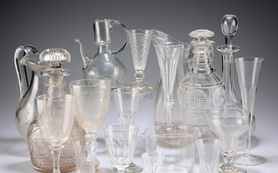A LARGE COLLECTION OF 18TH CENTURY AND LATER GLASS