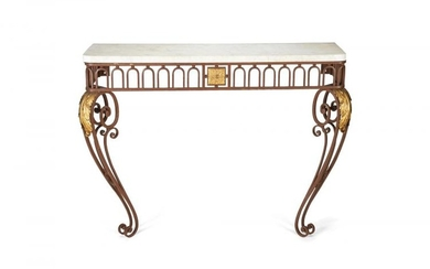 A Louis XVI style cast-iron console table, early 20th century