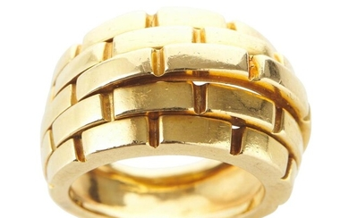A MAILLON PANTHÈRE RING BY CARTIER IN 18CT GOLD, SIGNED AND NUMBERED, SIZE J, CIRCA 1998, 15.7GMS