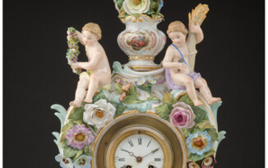 A Meissen Polychrome and Partial-Gilt Porcelain Clock (late 19th-early 20th century)
