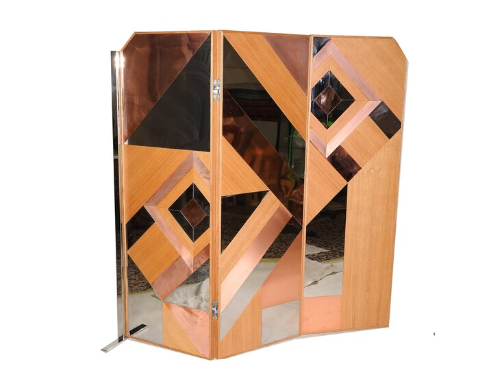 A Modern Wooden and Metal Three Fold Screen