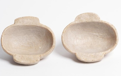 A PAIR OF CHINESE 'QINGTIAN' STEATITE EAR CUPS ZHEJIANG PROVINCE, THREE KINGDOMS PERIOD (220-280 AD)