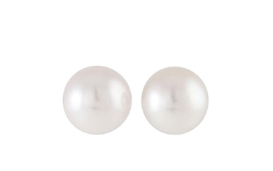 A PAIR OF CULTURED PEARL STUD EARRINGS, mounted in 18ct yell...