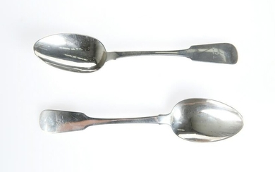 A PAIR OF GEORGE IV IRISH SILVER TABLE SPOONS, by