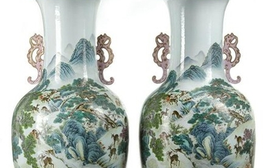 A PAIR OF LARGE CHINESE FAMILLE ROSE VASES, CHINA