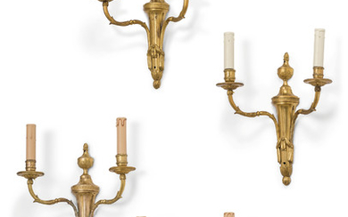 A PAIR OF LOUIS XVI ORMOLU TWIN-BRANCH WALL-LIGHTS, LATE 18TH/EARLY 19TH CENTURY