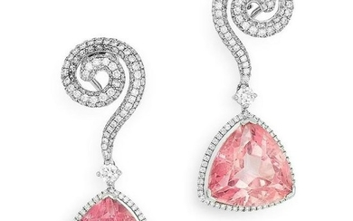 A PAIR OF PINK TOPAZ AND DIAMOND EARRINGS each set with