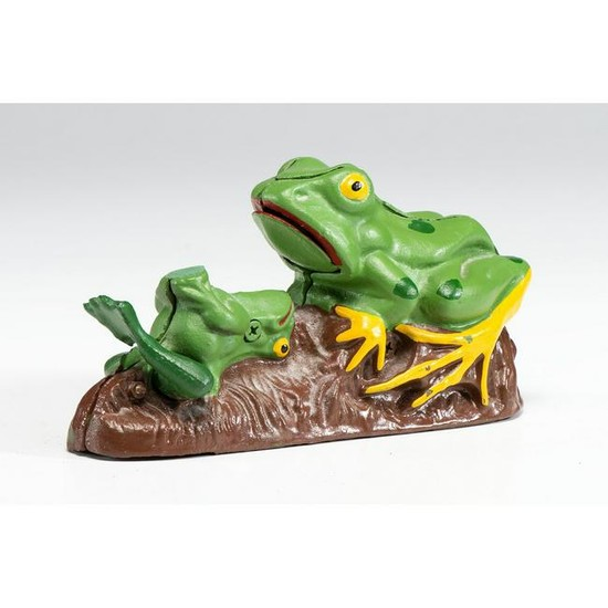 """A Painted Cast Iron """"Two Frogs"""" Mechanical Bank"""