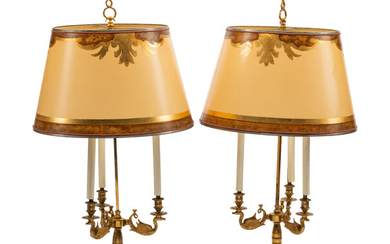 A Pair of Empire Style Gilt Metal Three-Light Candelabra Lamps