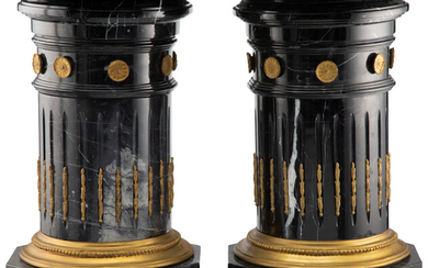 A Pair of French Neoclassical-Style Gilt Bronze Mounted Marble Pedestals (19th century)