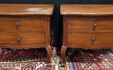 A Pair of French Style Timber Effect Two Drawer Bedside Cabinets (H:65 x W:68 x D:56cm) purchased at the House of Manor Mosman