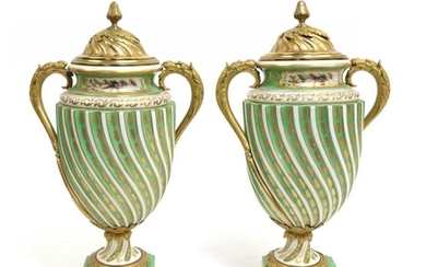 A Pair of Gilt Metal Sèvres Style Porcelain Vases and...