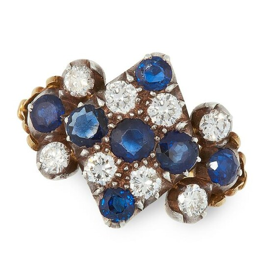 A SAPPHIRE AND DIAMOND DRESS RING in yellow gold and