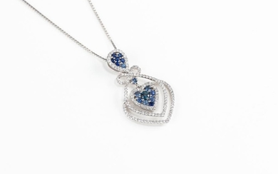 A SAPPHIRE AND DIAMOND HEART PENDANT NECKLACE; featuring an inverted pear shape and a heart shape cluster set with blue sapphires an...