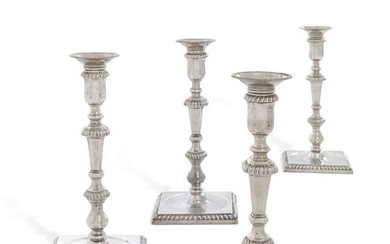 A SET OF FOUR GEORGE II SILVER CANDLESTICKS, MARK OF EDWARD WAKELIN, LONDON, 1750