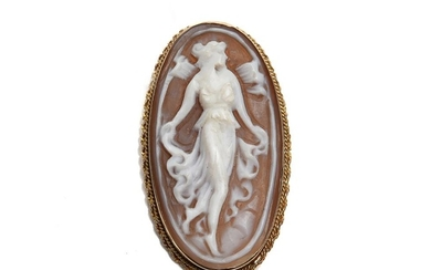 A SHELL CAMEO BROOCH N 9CT GOLD
