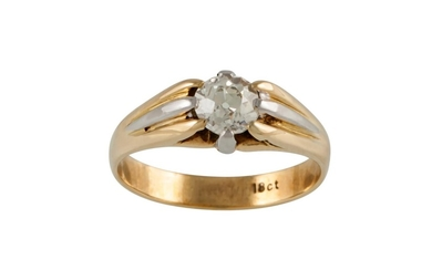 A VICTORIAN SOLITAIRE DIAMOND RING, with old cut diamond of ...