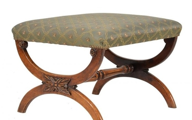 A Victorian walnut and upholstered X-frame stool