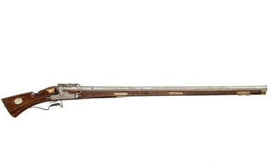 A bone-inlaid German matchlock musket, dated 1610