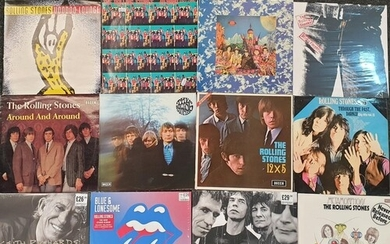A collection of approximately thirty three Rolling Stones LP...
