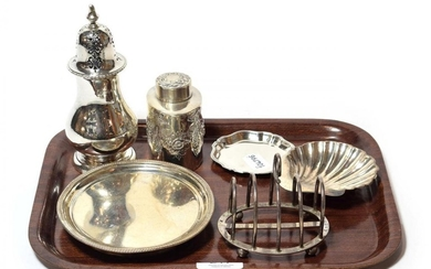 A collection of silver, including: a George III silver teapot-stand,...